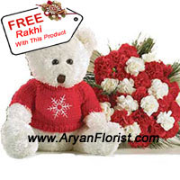 productThis big bunch of 24 Red Roses, that comes with white carnations indicates the good wishes that a sister gives to her brother. So what better way than to give this bunch on this Raksha Bandhan and seek and give blessings to your brother. Elder or younger, he will always need his sister's blessings to move ahead in life. With this comes a medium sized teddy bear that is cuddly and cute. You also get a complimentary Rakhi with this bunch.