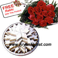 productWith strong traditions of India, the Indian traditional Mithai, especially the Kaju barfi, is the most favorite in every house hold. You receive this wonderful 1 kg Kaju Barfi along with 12 red roses. This will be a perfect way to show you care. With this beautiful red roses and white Kaju barfi's comes a complimentary Rakhi. Tie this Rakhi and reiterate the vows! Place an order for this majestic bunch and yummy barfi's to continue the festival in the traditional way!