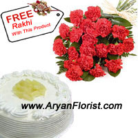 productPresent this amazing combo of devotion and respect that a brother sister relation has with the traditional 1/2 kg Vanilla cake and a bunch of 12 red carnations. Participate on this Raksha Bandhan with this combo and gift your sister this to show how much you admire her love and affection. What sisters do for their brothers is inexplicable, so thank her today for the sacrifices, she makes unknowingly. The free rakhi with this combo is beautifully decorated to be tied on your wrist.