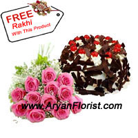 productBunch Of 12 Pink Roses Along With 1 Kg Chocolate Crisp Cake And A Free Rakhi! do you need more to celebrate this Raksha Bandhan with your sibling and family members? So place an order for this yummy cake, which is baked by the best bakery with complete attention and vigilance. The pink roses, needless to say are too, carefully plucked to adorn your sibling's house and infuse in it the lovely fragrance of flowers.