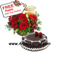 productLaden with chocolates, 1 kg chocolate truffle cake is more than perfect when presented with a basket of 12 red roses. These lovely red roses are carefully and scrupulously arranged in the basket and is appealing to the eyes. The cake is decorated well and will surely be relished by all in the family. Enjoy the festival and have gala time on this Raksha Bandhan. You also get a free Rakhi with this pack!