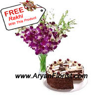 productThis Raksha Bandhan gift your sibling with one of the most popular ornamental flower, that is Orchid. From us, to you, these Orchids come arranged very well in a vase and 1 kg Black Forest Cake. The cake is freshly baked with all the love from the baker. The Orchids signify strength, showing power of the brother sister relation. It also denotes grace and delicateness, showing how you need to love your sister/brother. The free Rakhi with this pack will mesmerize you further!