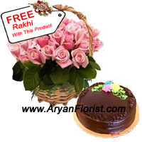 productProfuse love and respect between the brother and sister can be shown through this beautiful combination of 24 Pink roses and 1 kg Truffle Cake. It is indeed the righteous think to choose on this Raksha Bandhan and shower blessings to your sister and vows to protect her further and be by her side. You will be reciprocated with same plenteous love through the free rakhi that she will tie on your wrist. Order this now!