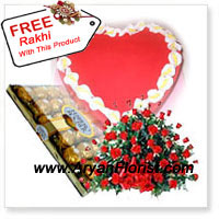 productReflection of indelible sacred love is visible through this grand pack of 100 red roses that are neatly and flawlessly arranged in a Basket. This grandiose comes with another, a 24 piece of Ferrero Rocher box along with 1 Kg (2.2 Lbs) Heart Shaped Strawberry Cake. All these are combined to manifest your love towards your sibling on this Raksha Bandhan and make them happy and proud. You also get one complimentary Rakhi with this, to emphasize on this eternal bond of love.