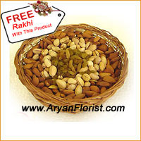 productIndia sees numerous exchanges of gifts, with Dry Fruits as one of the most popular ones. If you need to send this to your sister who is married and has a family, this is the ideal choice to send along with other gifts. This basket is nicely packed with 2 Kg of assorted dry fruits. The crunchy dry fruits are not only royal but from elders to kids, all adore them. This basket comes with a Free Rakhi.