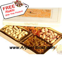 productThe very principle of the festival of Raksha Bandhan is the reiteration of the vows that were once made however, presenting gifts with the Rakhi is also another way to shower fondness for your brother. This 1 kg box of assorted dry fruits is the ideal way to show you care. This year on Raksha Bandhan this box will be bountiful to show your consideration towards your brother. With the box, you also get a free Rakhi to complete the festivities.