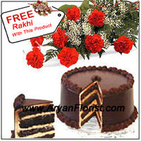 productThis enticing combination of bunch of 12 red carnations (that is highlighted with seasonal fillers) with 1 kg (2.2 lb) of chocolaty layered cake will be the most marvelous gift to give your sibling on this Raksha Bandhan. The sweet and flower combination will make your brother happy, if you send this combo to him especially if he lives away. This surprise will add to his merriment on this sacred day. The Free Rakhi makes this a comprehensive package.