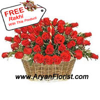 product50 fresh red roses are put together in a pretty basket and sent along with a free Rakhi. The fragrant flowers are handpicked and beautifully decorated in the basket. The Rakhi is designed to create a beautiful pattern with beads and threads. Express your sibling love to your brother by sending this combo to him.