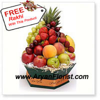 productThis Fresh 5 kgs (11 lbs) of Fruit basket with assorted fruits is the best idea to give to your sister/brother who prefers to taste natural sweetness of the fruits. This natural sweetness embodies love and care with which this has been brought to you. This never ending love of the siblings is easliy displayed when your sibling orders according to your preference, that is evident from the basket of fruits. The free Rakhi that you get with this basket is yet another way to display care.