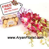 productBuy this pack of 16 Italian Ferrero Rocher along with a bunch of Orchids and surprise your sister on this Raksha Bandhan. This royal treat of chocolates, aplenty with nuts and crunch will make you recall the wonderful memories you have. So have a laugh together over this treat. The Orchids symbolizing strength will look beautiful on the side, while your sister ties the free Rakhi that you get along the pack! Order now see your sister smile!