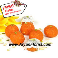 productLadoo seems to be the most popular Indian sweet. It will not be wrong if we term it as the National Sweet of our Country. So on this Raksha Bandhan have these yummy flavor full laddos. This pack of 1 kg Moti Choor ladoo looks luscious and divine and can be ordered with us. With this pack of 1 kg Ladoo, you also get a free Rakhi that is beautifully decorated with pearls and other decorative items.