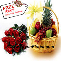 productBunch of 12 Red Roses With 5 Kg (11 Lbs) Fresh Fruit Basket is an ideal way of celebrating Rakhi with your sibling. The age old festival will allow you to give this healthy option to your brother or sister. Their preference is your choice, showing how much you care for them and their well being. The red roses emanate pure love and the fruits will keep you healthy. The Free Rakhi that you get with this pack will annex your gift with serenity and sacredness.