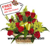 productThis charming bouquet is created with 18 fresh and fragrant red roses and seasonal fillers. Handpicked and arranged by our expert florists, the elegant basket adds to the charm of the flowers. A colorful traditional pattern Rakhi is sent along with the flowers. The Rakhi is specially created with the finest beads and threads and packed in fancy wrapping. Send this to your brother on Raksha Bandhan and make him feel special.