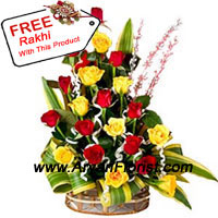productThis bunch of 12 yellow and 12 red roses marries elegance with style. The fresh blooms are punctuated with equally fresh seasonal fillers. Popping up in between are fresh green leaves. The roses and fillers are creatively arranged in a basket. Unique and elegant, this one is for those who like something different. Complementing it is a free Rakhi. Created with dainty embellishments and colorful threads, it symbolizes the special bond between brothers and sisters in its beauty. Send this to your brother on Raksha Bandhan.