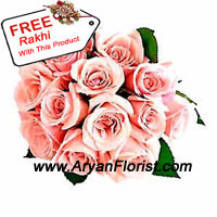 productLending 12 pink roses a dramatic update, this bouquet is created with fresh roses, green leaves, fillers and fancy wrapping. The arrangement is crafted to look unique and eccentric. It is medium in size, easy to carry and something that you do not get to see every time. Along with it, a beautiful free Rakhi makes it a perfect gift for your brother on Raksha Bandhan.