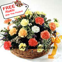productMake Raksha Bandhan special for your brother with this present that easily stand out. A basket of 24 mixed colored carnations and fillers, the brightness of the colors will surely brighten up your brother's day. Beautified further with fillers, the basket is round and surrounded with exotic leaves. A final layer of fancy wrapping adds style to this creation. Complementing it is an equally beautiful free Rakhi, created with colorful embellishments. A perfect gift to send to your brother on Raksha Bandhan.