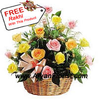 productA basket of handpicked 24 mixed roses made to look like one big bloom; this one is easily a favorite pick. 24 roses are surrounded by layers of fillers, elegantly arranged in a beautiful basket. The basket is delivered with a free Rakhi for your brother. For those who like all things attractive, the Rakhi is a perfect match.