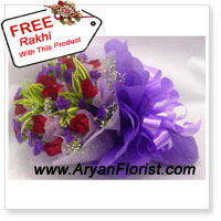 productFor an instant dose of love and all things lovely for your brother, gift this bouquet of 12 stalks of red roses and a free Rakhi. Red roses sweetly co-exist with seasonal fillers, wrapped by fancy decoration to express your feelings to your brother. The Rakhi features decorative embellishments, colorful beads, and silky threads - perfect to celebrate Raksha Bandhan.