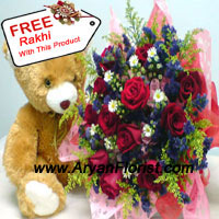 productBunch of 12 Red Roses With Fillers And A Medium Sized Cute Teddy Bear With A Free Rakhi, is all you need to send to your sister to see her smile. On one hand where the teddy bear will make you recall the memories of the past, when your sister was a kid, the other hand, the red roses will make you realize that she is all grown up. The mix of emotions will both make you teary eyed and happy at the same time.