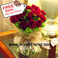 productBeautifully arranged and amazingly presented, this bunch of 12 red roses with ferns is crafted to impress. The roses are handpicked by our expert florists and designers in our studios have specially put together this arrangement. Placed in a manner that the bunch looks full and glamorous along with the green leaves and fillers. Send it to your brother on Raksha Bandhan along with the beautiful free Rakhi and express your appreciation and good wishes. Delight your brother.