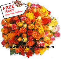 productKeep it fresh, keep it innovative! This bunch of 100 roses in mixed colors incorporates the beauty of roses in a creative fashion. Put together in a harmonious manner, red, orange, yellow, white and pink roses ooze of freshness and warm wishes. Send it to your brother along with the free Rakhi that is crafted with pretty beads, decorative embellishments, and colorful threads. Your brother deserves all things special on Raksha Bandhan.