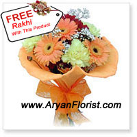 productKeep it fresh! Keep it Fabulous! This bunch of 10 gerberas and a free Rakhi is a perfect gift for your brother. The bouquet is designed with fresh gerberas in a playful manner. The Rakhi is crafted in an attractive pattern with beads and trinkets. Order it for your brother and get it delivered to express your warm wishes on Raksha Bandhan.