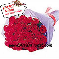 product24 red roses are hand picked and bunched together into a beautiful arrangement. Wrapped with fancy wrapping, the red roses form a spectacular circular bouquet. The flowers come with a free Rakhi. Celebrate Raksha Bandhan with delight by sending this special present to your brother.