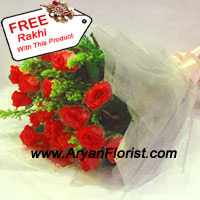 productThis beautiful bunch of 12 red roses and fillers comes with a free Rakhi. Handpicked roses are bunched up together and wrapped with fancy wrapping. Fillers and green leaves pop up between the red roses, fresh and fragrant. The Rakhi is delicately designed with decorative trinkets, embellishments, and knick-knacks. Send this to your brother on Raksha Bandhan and make the celebrations special.