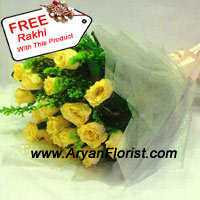 productA bunch of 12 yellow roses is elegantly put together with fancy wrapping. Along with it is packed a beautiful free Rakhi. The freshness and fragrance of the yellow roses brighten the atmosphere, while the charming Rakhi oozes of beauty. Order this exquisite present for your brother on Raksha Bandhan and delight him.