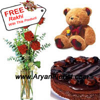 product6 Red Roses in A Vase With 1/2 Kg (1.1 Lbs) Chocolate Cake and a Medium Sized Cute Teddy Bear is all one can ask for on this Raksha Bandhan. Your sister will be immensely happy to see this amazing blend of love, tenderness and care. Your choice will also be appreciated as the combo is amazing and complete in itself. A Free Rakhi with this combo will be more appreciated as it completes the pack and makes you realize the motive of the festivities.