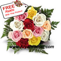 productMake this Raksha Bandhan special for your brother by sending this bunch of 12 mixed colored roses that gets delivered with a free Rakhi. Elegantly put together with fresh flowers and seasonal fillers, the bouquet is artistically designed keeping in mind the special occasion. Order it for your brother and delight him.
