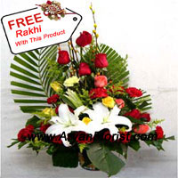 productReceiving a basket of assorted flowers with lilies, roses and carnations from your miser sibling, you can reckon the depth of love your sibling has for you. So don't be surprised if you receive this basket along with a free Rakhi to make the bond of love mightier than before. This wonderful blend of thoughtfully chosen flowers will make your celebrations opulent. Place your order now and get adorned with flowers on this Raksha Bandhan.
