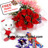 productThis combination of 12 roses, assorted chocolates and Teddy bear is ideal to impress your little sister, especially, if you have earned this for her. The dozen of roses show the sentiments attached to the festival of Raksha Bandhan, the assorted chocolates add to the element of sweetness that is mandate to complete the festivities and the teddy bear show the cuddly and lovable way you treat your sister/brother. The free Rakhi with this pack will be an addendum to the happiness galore!