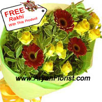 productIf you are away from your sister/brother and miss them terribly, then go order this delightful bunch of ten yellow roses and 3 red gerberas. The yellow and red colors of these flowers compliment each other, just like you compliment your sibling. You will feel cheerful when you send this joyous bunch of bright yellow roses that radiates closeness in your relationship. This comes with a free Rakhi, that saves you the from the hassle of going to the market.