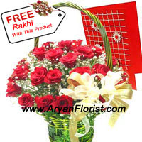productNothing can show love as good as the traditional red roses. This bunch of 24 red roses are meticulously arranged for you to send this to your siblings. This bunch comes with a Raksha Bandhan Card and a Rakhi too. You may express your feelings and show your perpetual love towards your sibling, through this flawless bunch of red roses that is organized especially for this Rakhi. Surprise your little sister/brother with this bunch and see them smile!