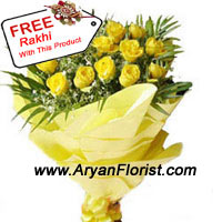 productHonor the love of your brother/sister with this beautiful bunch of two dozen yellow roses. They are well packed and easy to present and has a tie-up on the base of the bunch, to assure a good grip over it. This ray of joy, on the special occasion of Raksha Bandhan will display affection and friendliness between you and your sibling. These twenty four yellow roses also come with a sacred thread of love.