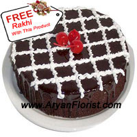 productChocolate cakes are contemporary ways to enhance the celebration of any festival. So celebrate Raksha Bandhan with this lovely 1 kg. (2.2 lbs) chocolate cake. The baker has put his heart and soul to create this lovely looking cake that has contrasting lines of cream all over the cake. The beautiful finish on the cake is done with cherries, that adds to the outlook of the cake. A free Rakhi with this amazing cake completes your Rakhi celebration.
