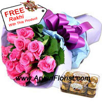 productAny girl's favorite choice of color is largely pink, so without much contemplation, present this amazing bunch of 12 pink roses to your sister on this Raksha Bandhan. Along with this, you can present the nutty and crunchy Ferrero Rocher that come in a box comprising of 16 pieces. The chocolates are anyone's favorite, so enjoy eating these chocolates with your sister and rest of the family. The free Rakhi that comes with this reminds you of the sacredness of the celebration.