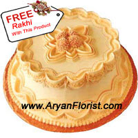 productOn this jubilant occasion of Raksha Bandhan, present your brother and sister with this splendid butterscotch cake. This 1 kg (2.2 lbs) cake appears yummy and ready to be gorged upon. It truly justifies the saying, 'no one can eat just one'. So double your celebration of Raksha Bandhan by ordering this cake that also comes with a Rakhi. This sacred thread is beautifully crafted, emitting love, protection and reliance between brother and sister. Order now and impress your sibling!