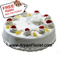 productThe best confectionery item, the base of all cakes, THE CREAM CAKE is presented to you with a free Rakhi that is beautifully embellished with materials and adorned with love. The lovely looking 1 kg (2.2 lbs) cake will add to your merry making on Raksha Bandhan. The sweetness of the cake will infuse happiness and penetrate the memoirs deep into the heart with more promises to make, and few more to keep. Place your order for this cream cake now!