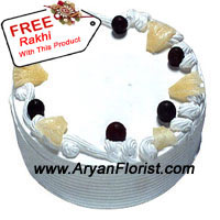 productThe decorated pineapple cake is apt for this Raksha Bandhan to devour this cake as festivals are incomplete without sweets. When the sweet is this wonderful looking cake, then the festival will sure to be happiness galore. Place an order for this 1 kg (2.2 lbs) pineapple cake that is serene in its appearance. You also get a free Rakhi with this cake so you can first tie the Rakhi and then gift this cake. Order this cake now !