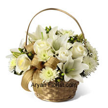 productWith the serenity and peace of white, this arrangement comes in white beauties, such as roses, chrysanthemums, and Asiatic lilies. The color of the arrangement is contrasted well with that of the basket which is gold in color. The look of the entire package of flowers and basket together is absolutely tranquil and sends a message to maintain that perpetually. The green colored hypericum berries and a gold plaid ribbon makes this arrangement stand out, especially due to its subtlety and vibrancy at the same time. (Please Note That We Reserve the Right to Substitute any Product with a Suitable Product of Equal Value in Case of Non-Availability of a Certain Product)
