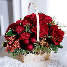 productIn this season rife with festivities, this attractive arrangement with roses and Christmas greens is the superb way to feel the festivities. The panache this arrangement evolves is totally admirable as it has the classic Red Roses that are tastefully decorated holiday greens and berries. The basket is adorned very beautifully with these items and make it a perfect gift or self-buy. Place an order now and glare at the lovely roses!! (Please Note That We Reserve the Right to Substitute any Product with a Suitable Product of Equal Value in Case of Non-Availability of a Certain Product)