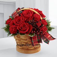 productThe exemplary red roses that will flush you with scarlet color too, is what you get in this amazing wood chip basket. This basket contains all that you need to enhance your celebrations; it has pine cones reflecting the season's piousness, berry pics that are the addendum to the decor of the bouquet, and needless to mention the affection and warmth of red roses. These are well placed in a basket that is adorned with tartan plaid ribbon that makes it a perfect gift idea. (Please Note That We Reserve the Right to Substitute any Product with a Suitable Product of Equal Value in Case of Non-Availability of a Certain Product)
