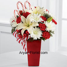 productWhite Asiatic Lilies and chrysanthemums are distinct because of their comforting white color. The red mini carnations, assorted holiday greens, red glass balls, three candy canes and festive ribbon are consummately placed and arranged in a red ceramic vase. All this is arranged just for you to embrace this season with splendor and merriment. This holiday season, pick this to send wishes to others and enjoy the comfortable holiday season with our creation that is made just for you! (Please Note That We Reserve the Right to Substitute any Product with a Suitable Product of Equal Value in Case of Non-Availability of a Certain Product)