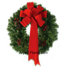 productSilk and sonnets of Christmas come live with this plush red silk ribbon made just for you! Celebrate your Christmas in style and wish everyone on this day by showing off your superb wreath that is not only stylish but also the classic way to celebrate. So, spread happiness with this wreath that is not only good to look at, but also a historical significance with the Christmas! Spread love and order this praise worthy wreath. (Please Note That We Reserve the Right to Substitute any Product with a Suitable Product of Equal Value in Case of Non-Availability of a Certain Product)