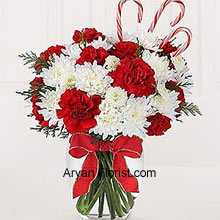productThe presence of Almighty can be seen in this bunch that is adorned with festive candy canes. It also consists of red carnations and white chrysanthemums where these peppermint candy canes are also adjusted amidst them to make this a presentable bouquet. The vase that comes with this blend of white and red flowers equals the beauty of the flowers and will surely adorn your central table. Indeed one of the best ways to make memories! (Please Note That We Reserve the Right to Substitute any Product with a Suitable Product of Equal Value in Case of Non-Availability of a Certain Product)