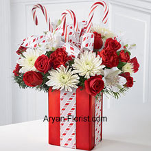 Just a look and you will lose your heart! This is one of the finest bouquets that we have on this holiday season. This wonderful arrangement contains white mums, red carnations and sprays roses that embellished with candy canes to bring on the festive spirit. These are arranged very meticulously in an amazing red and white colored vase that is unique in its shape and is a true indication of festivities owing to its lovely classic color. (Please Note That We Reserve the Right to Substitute any Product with a Suitable Product of Equal Value in Case of Non-Availability of a Certain Product)