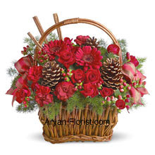 A little garden is created for you in this very well spaced basket that contains a bouquet of miniature roses, carnations, gerberas, or similar festive blooms. They are designed in a basket with fresh evergreens, pinecones, and accents. This basket is the perfect way to show your gratitude and wish your friends and family wonderful and pleasant Happy holidays! The lovely greens present in the basket makes it lovely and eye catchy too! Please, all by giving this pretty decorative! (Please Note That We Reserve the Right to Substitute any Product with a Suitable Product of Equal Value in Case of Non-Availability of a Certain Product)