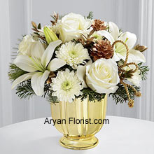 productThis amazing collection of ornamental flowers of white roses, Asiatic lilies and chrysanthemums are brought to you in this sparkling golden vase to show your prowess in celebrating with elegance. The myrtle stems and assorted holiday greens that are added, elevate the collection and make it more eye catchy. Each flower, including the Gold pedestal vase, will be the highlight of your collection that is going to help you ascertain your season's goals. (Please Note That We Reserve the Right to Substitute any Product with a Suitable Product of Equal Value in Case of Non-Availability of a Certain Product)